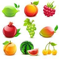Clip art of fruits icons