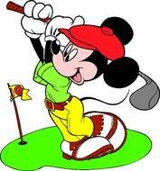 Mickey Mouse is playing golf clipart
