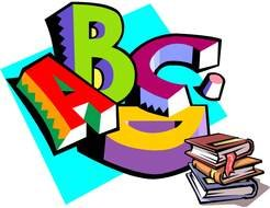 colorful letters and books as a graphic image