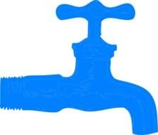 blue faucet for water on a white background