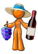 clipart of the stickerman is holding a wine and grapes