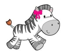 animated zebra with pink bow