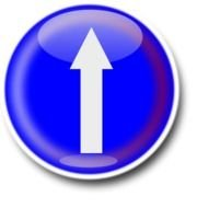 Straight Ahead, round glossy button with arrow, drawing