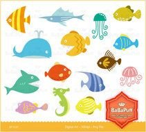 Instant Downloads Digital Sea Animals Fish By Babapuff clipart