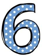number six with polka dots
