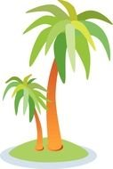 Clip Art of the palms on a island