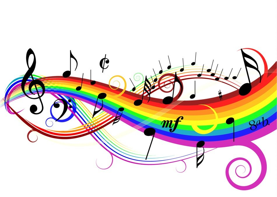 music notes and rainbow