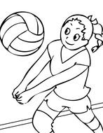 drawn girl playing volleyball