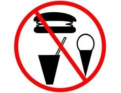 No Food Or Drink, round sign