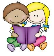 drawn cartoon brother and sister are reading a book