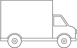painted truck in coloring book