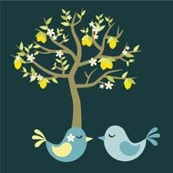 Lemon Tree With Love Birds In Blue And Yellow Digital On