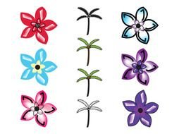 variety of flowers for palm trees as a picture for clipart