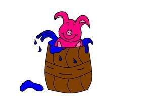 Clipart of pink pig in a water