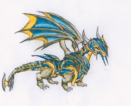 Colorful armored dragon clipart