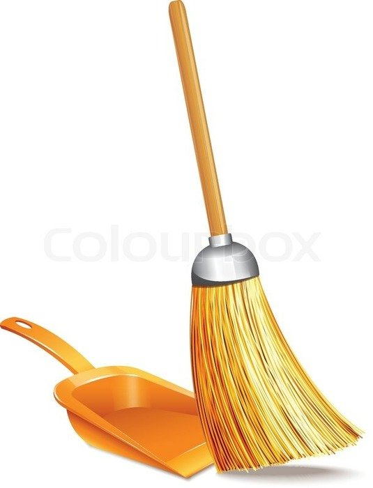 isolated broom and dustpan