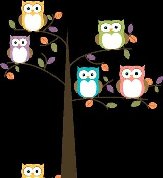 cute owls on the tree branches