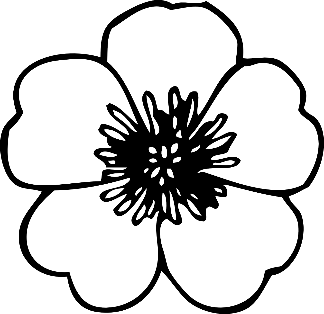 Clipart Spring Flowers Black And White Panda Free Free Image