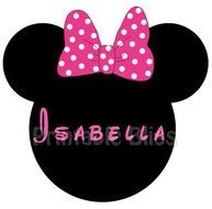 silhouette minnie mouse head with the inscription