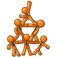 orange stick people Pyramid drawing