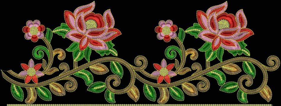 vintage embroidery on the black background