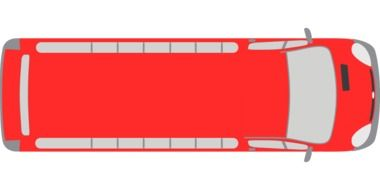 top view of a red bus