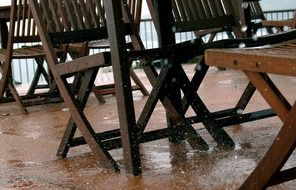 wooden chairs in the rain
