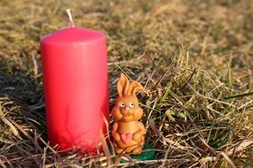 easter bunny red candle