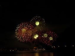 fireworks reflected in water