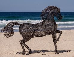 beautiful black horse sculpture