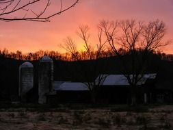 farm at sunset, usa, kentucky