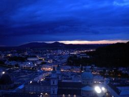 blue Salzburg night sky
