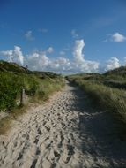 walk path on sand beach, germany, sylt