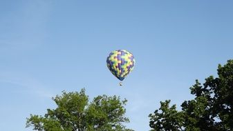 balloon in the sky above the forest
