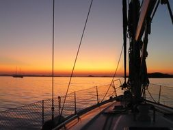 sunset view from sailing boat