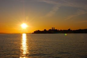 Sunset panorama on the lake constance