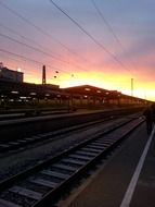 sunset over the train station in Augsburg