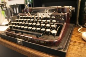 brown antique typewriter