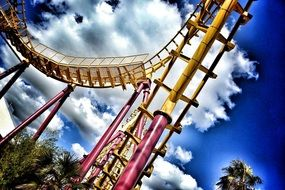 roller coaster on a bright sunny day