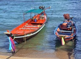 Thai fishing boats on the beach