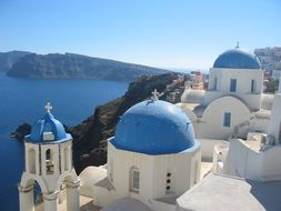 panoramic view of traditional architecture on santorini island