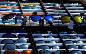 sunglasses on the shop counter
