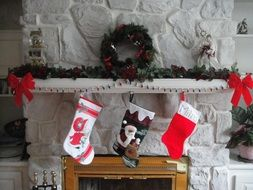 christmas red socks over the fireplace
