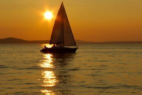 sailboat on the sea in croatia at sunset