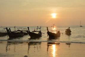 beach boats thailand sunset view