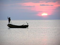 sea fishermen sunset boat