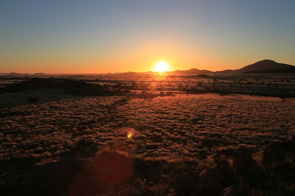 sunset in steppe of Namibia