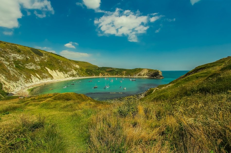 panoramic view of lulworth bay in south england