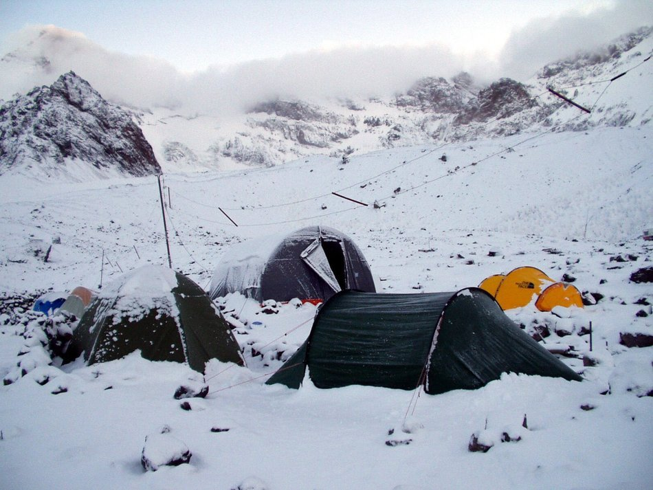 Base camp of a expedition in the snow in the mountains of Argentina