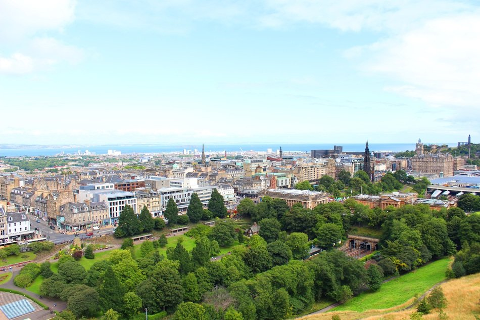 top view of old city with castle, uk, scotland, edinburgh